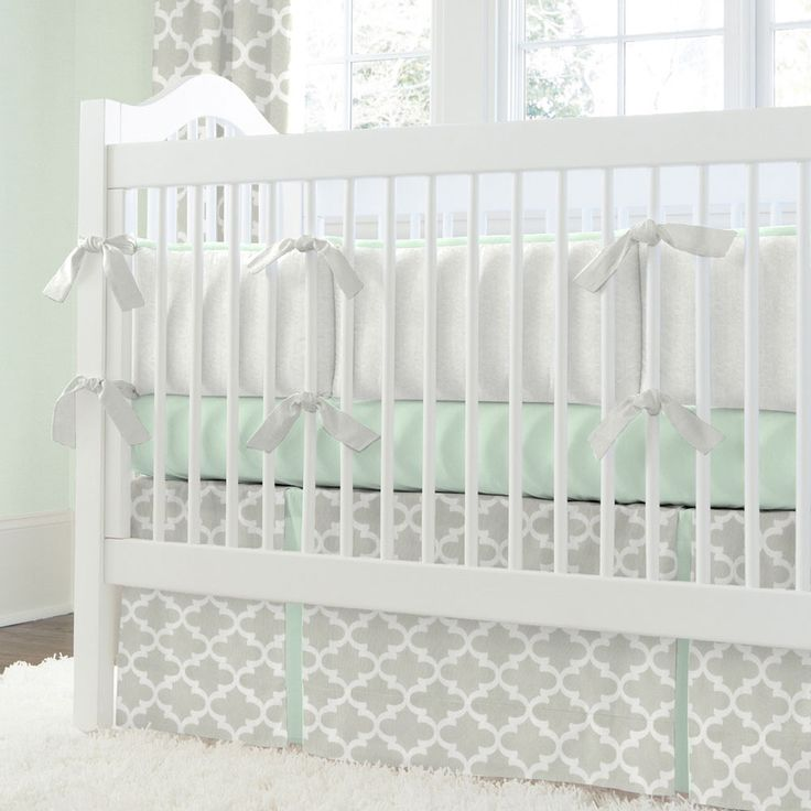 French Gray And Mint Quatrefoil Crib Bedding Neutral Grey Carousel Designs