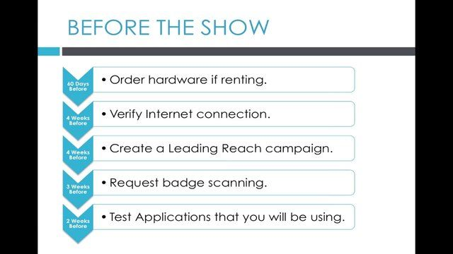 Trade Show Etiquette 101: In this Leading Reach Customer Success Webinar, Mike Davitt goes through best practices for using Leading Reach on the trade show floor.