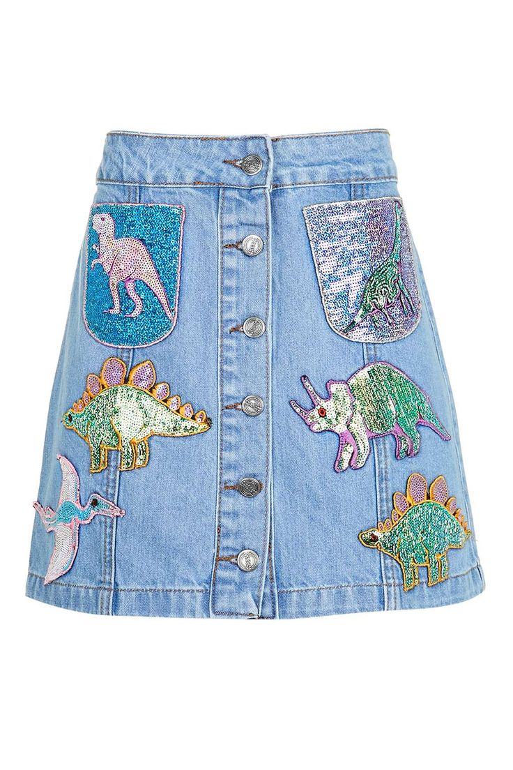 **Sequin Dinosaur Denim Skirt by Kuccia
