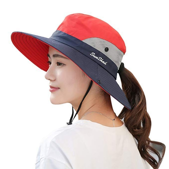 Kids Girls Cotton Sun Hat Beach Ponytail Packable Foldable Wide Brim Bucket Hats