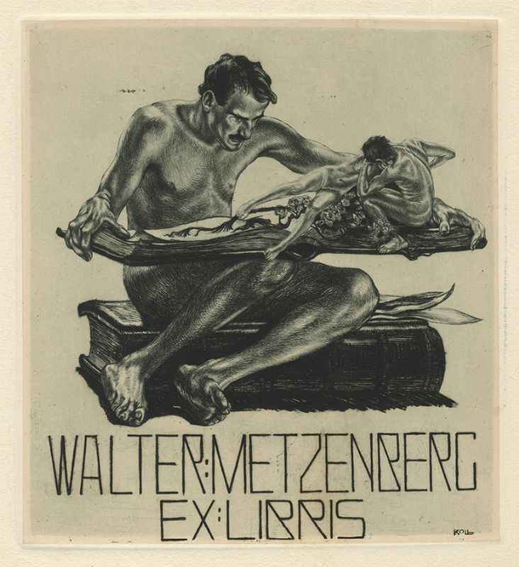 Bookplate by Alois Kolb for Walter Metzenberg, ????