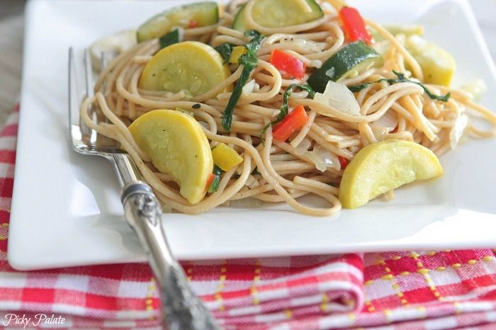 Vegetable Party Spaghetti with Warm Garlic Thyme Olive Oil - Picky ...