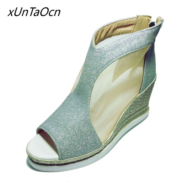 platform women zipper Female shoes bling lady open toe Sequins Sandals Peep Toe wedges woman mesh 9cm super high heel Footwear #Affiliate