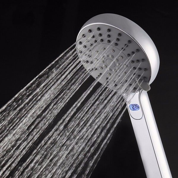 Five Modes Outlet Handheld Shower Head With Temperature Display Bathroom Water Saving Shower Head #ShowerHeads