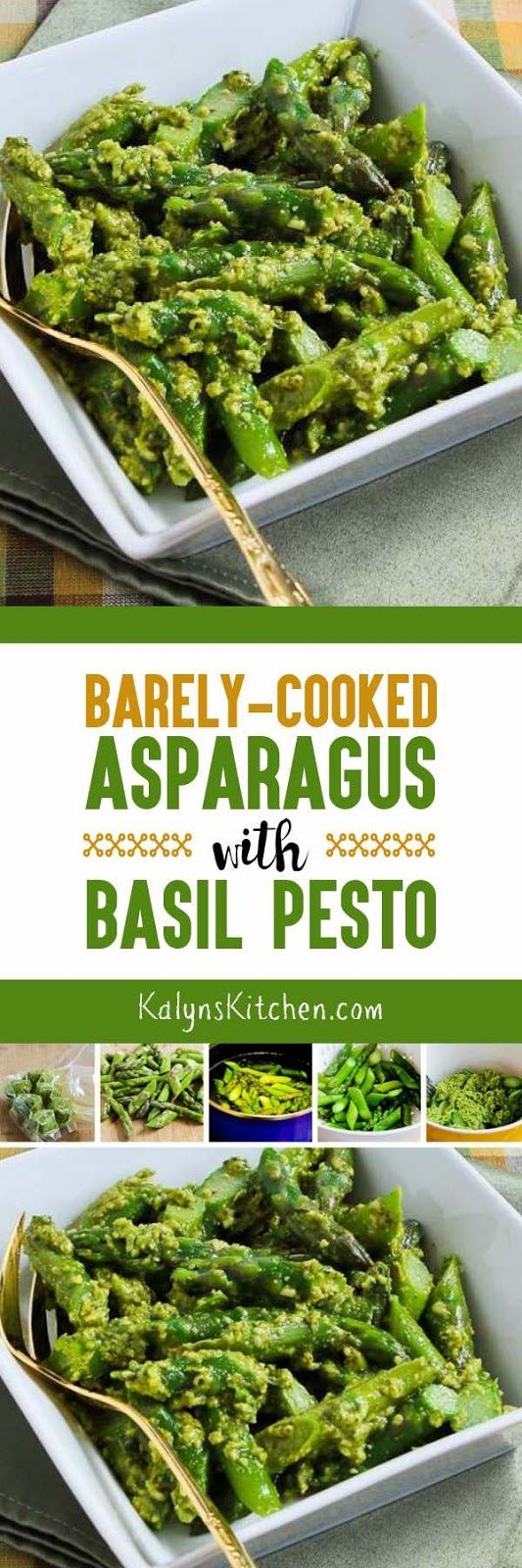 Barely-Cooked Asparagus with Basil Pesto is a simple low-carb side dish that's absolutely a wow in the flavor department. And this amazing way to cook asparagus is also Keto, low-glycemic, gluten-free, and South Beach Diet friendly. [found on KalynsKitchen.com]