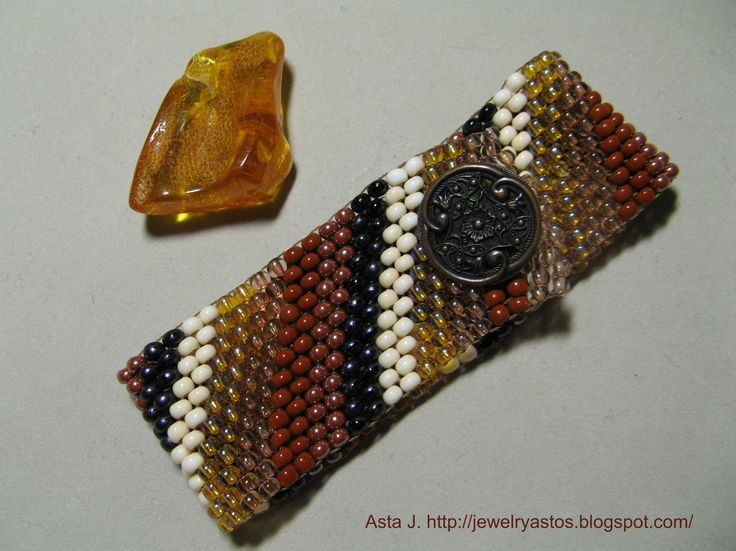 """My peyote bracelet """"from Amber to coffee"""""""