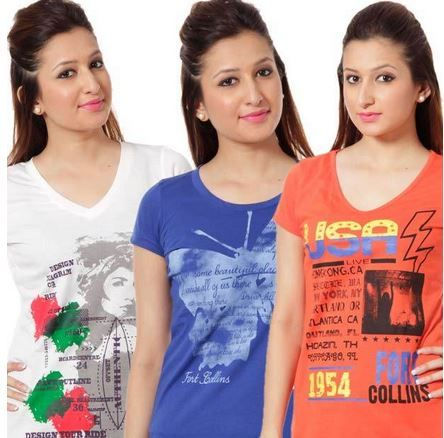 T-Shirts for Women!!!  #Buy Set of 3 Fort Collins Cool Printed #Cotton T-Shirts at Rs. 425 only. Apply Coupon: BRANDS