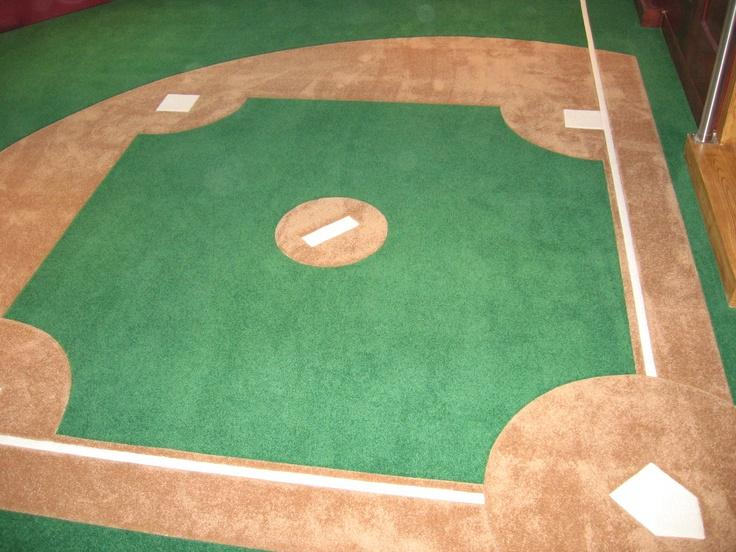 Custom Made Wall To Wall Carpet, With A Baseball Diamond, By G.