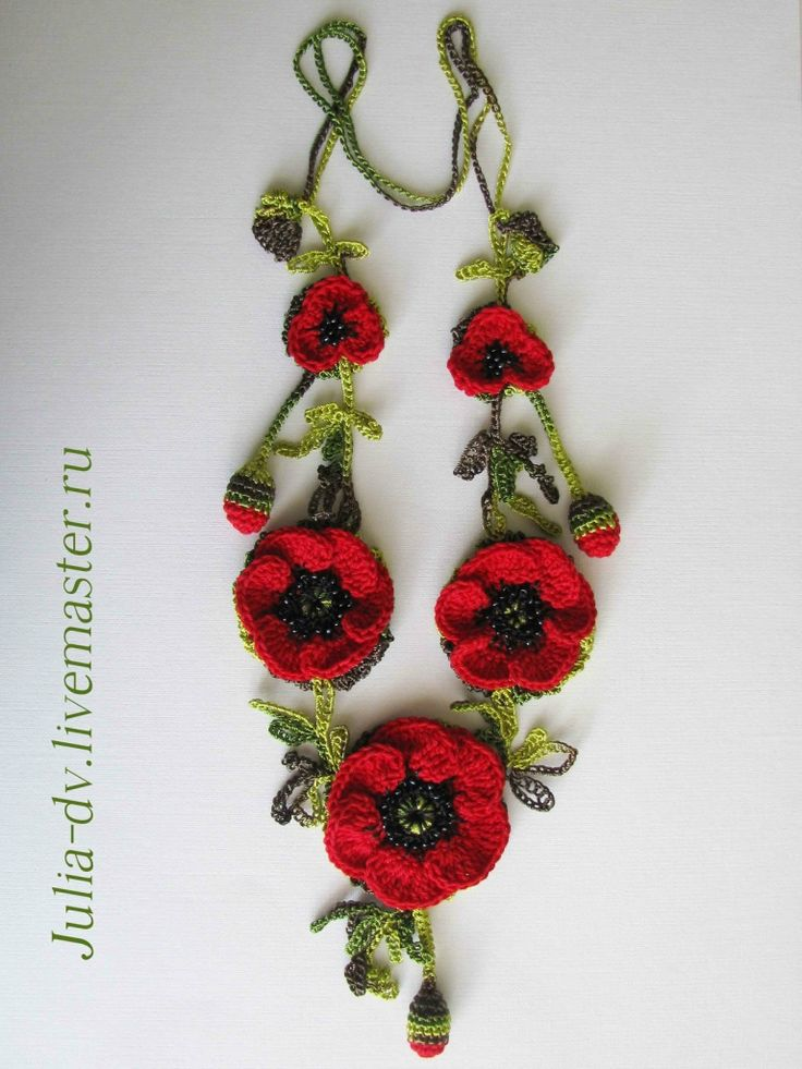 Poppy flowers crochet necklace.   Pattern in Russian ( translation in notes)