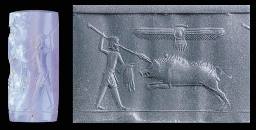 Graeco Persian cylinder seal, chalcedony, 5th-4th century B.C.   With a Persian man spearing an enormous charging boar with bristles along its back, its fore-legs raised, the hunter in a soft Persian tiara, tunic and trousers, a mantle draped over one arm, holding a long spear in his raised hand, a winged solar disk above, on a thin groundline, 2.6 cm high. Private collection