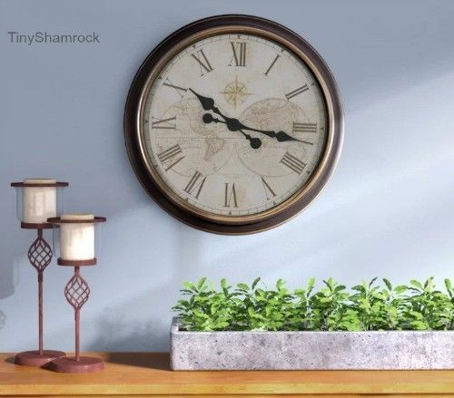 "Large Wall Clock Global Map 24"" Vintage Antique Style Old World Design Roman Num #LargeWallClocks #AntiqueStyle"