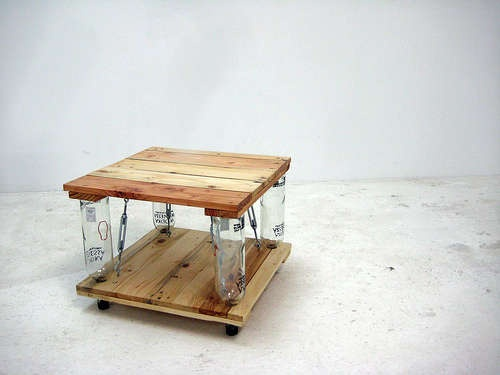 DIY Coffee Table - Reclaimed timber and glass bottles