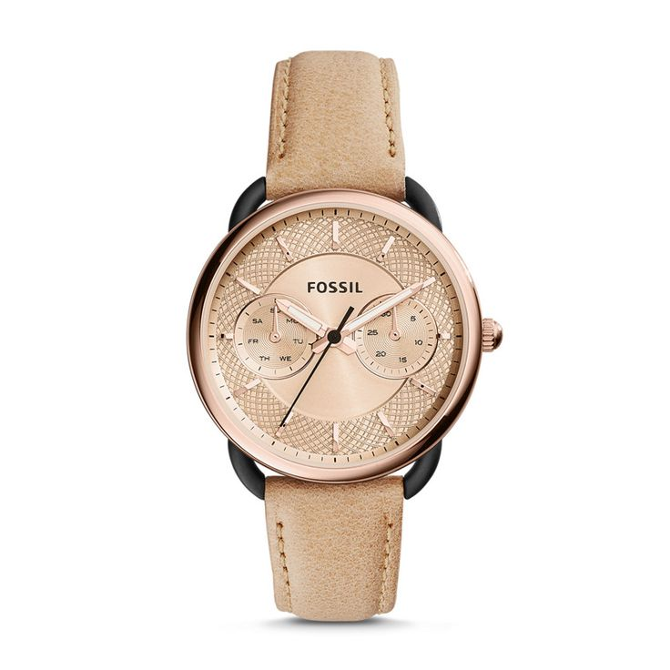 Fossil Tailor Multifunction Leather Watch – Sand, ES3807 ...