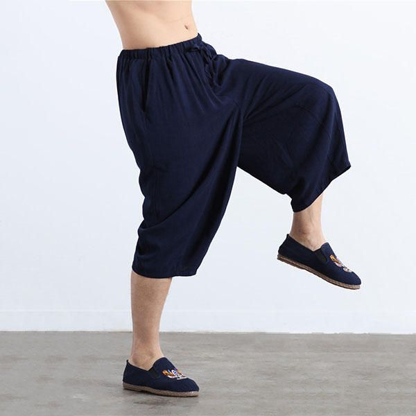 Charmkpr Mens Cotton Wide Leg Loose Calf-Length Pants at Banggood