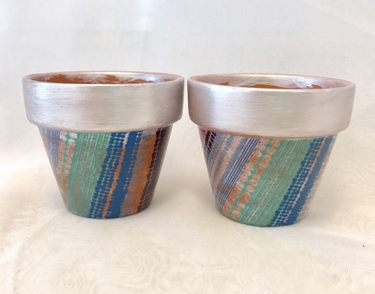 2 Silver metallic hand crafted decoupage planter pots, succulents, plants, home office decor, gifts by PassionforSucculents on Etsy https://www.etsy.com/ca/listing/567176429/2-silver-metallic-hand-crafted-decoupage