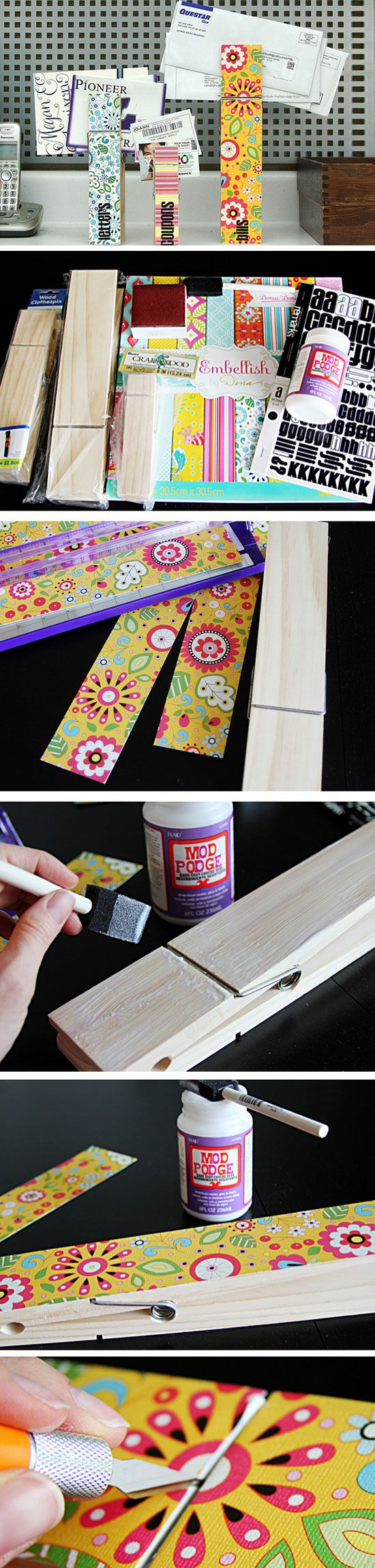 Jumbo Clothespin Mail Sorter | Click Pick for 24 DIY Organization Ideas for The Home | DIY Storage Ideas for Small Spaces