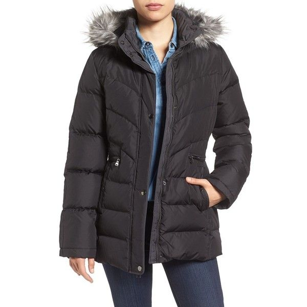 Women's Larry Levine Quilted Coat With Faux Fur Trim ($100) ❤ liked on Polyvore featuring outerwear, coats, black, larry levine, zip coat, feather coat, faux fur trim coats and larry levine coats