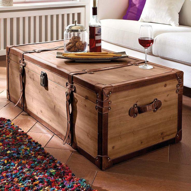 Amazonde Couchtisch Truhe Holz Braun Mit Viel Stauraum