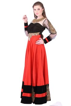Red Black Color Raw Silk Long Dress- Long dress with Kundan and Stone work