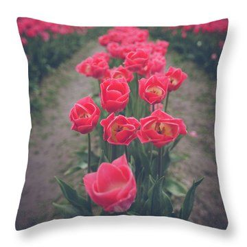 Skagit Tulip Festival Throw Pillow by Alanna DPhoto