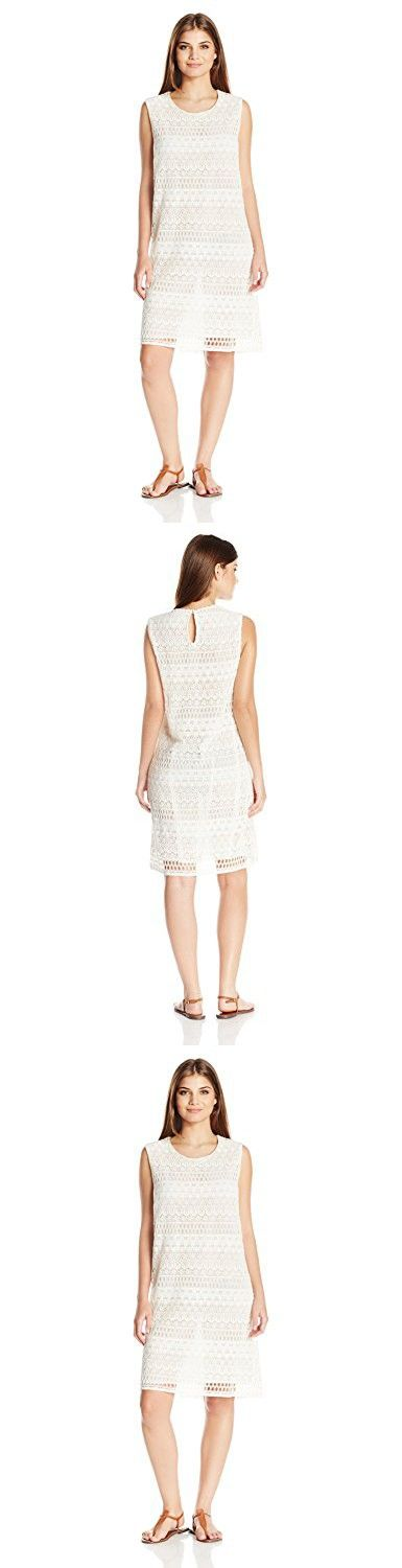 Gottex Women's Pearl Goddess Lined Crochet Short Dress Cover up, Ivory, S