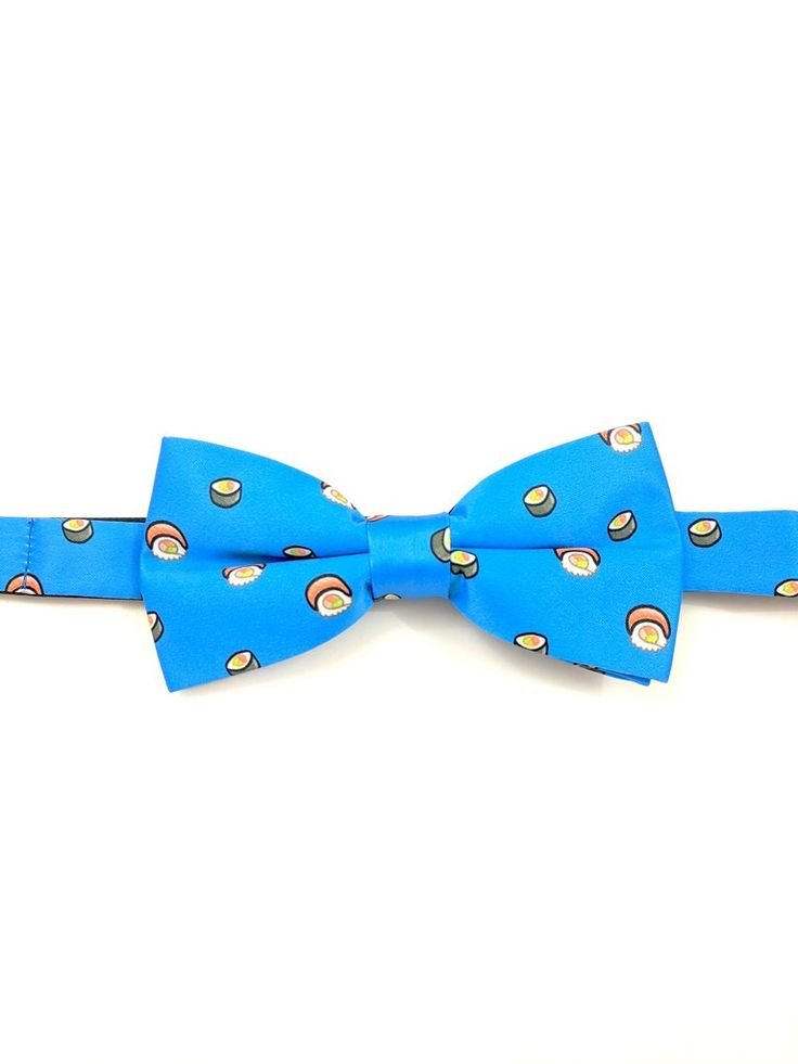 Blue Bow Tie and Pocket Square Set - Sushi