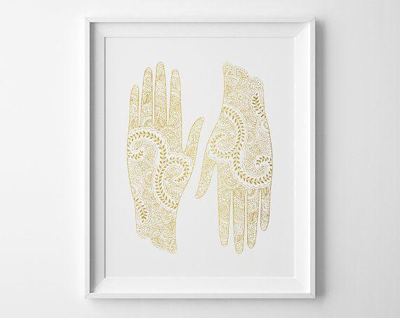 Yoga Poster, Mehndi Art, Hands Inspirational Print, Yoga Studio Decor, Yoga Art, Gold and White Art, Matte Faux Gold Swirls Minimal Poster
