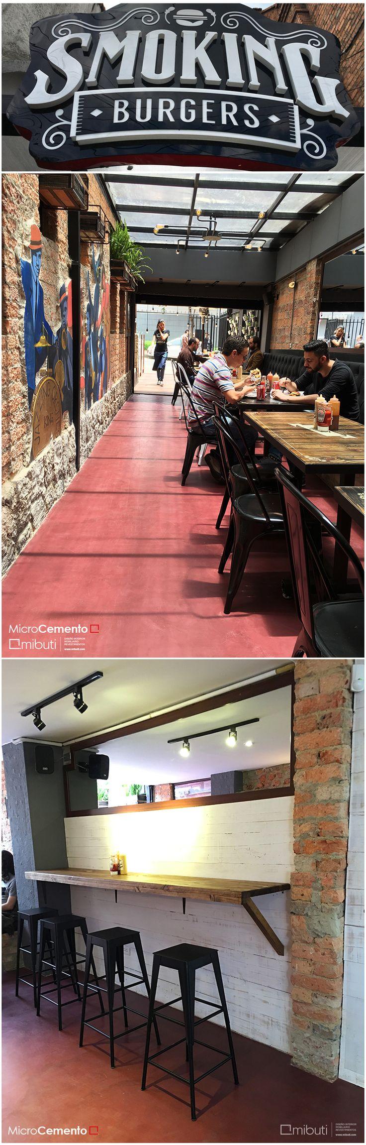 ¡Somos una opción en cualquier espacio! #Microcemento color ciruelo en Smoking Burgers. #revestimiento #diseñointerior #interiorismo #coating #decorativecoatings #concretecoatings #interiordesign #pisos #sinjuntas #superficies #pisosmibuti #Mibuti