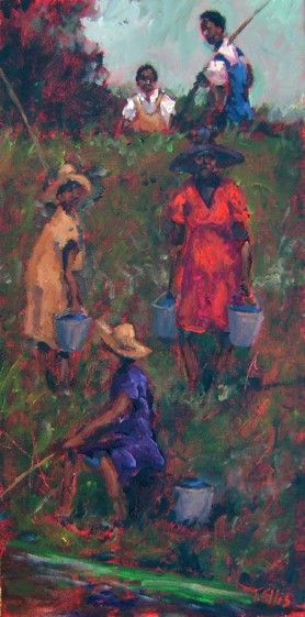 "Fishing Over the Levy, 16x8, original painting by famous African American artist,Ted T. Ellis $2,350.00 www.tellisfineart.com. If one thing I loved doing growing up was ""Fishin"" and that was with my dad or Maw Maw. We fished right over the levy with cane poles and buckets. Such were the good ole days!!T. Ellis Fine Arts - - original African American Art by famous American artist Ted Ellis"