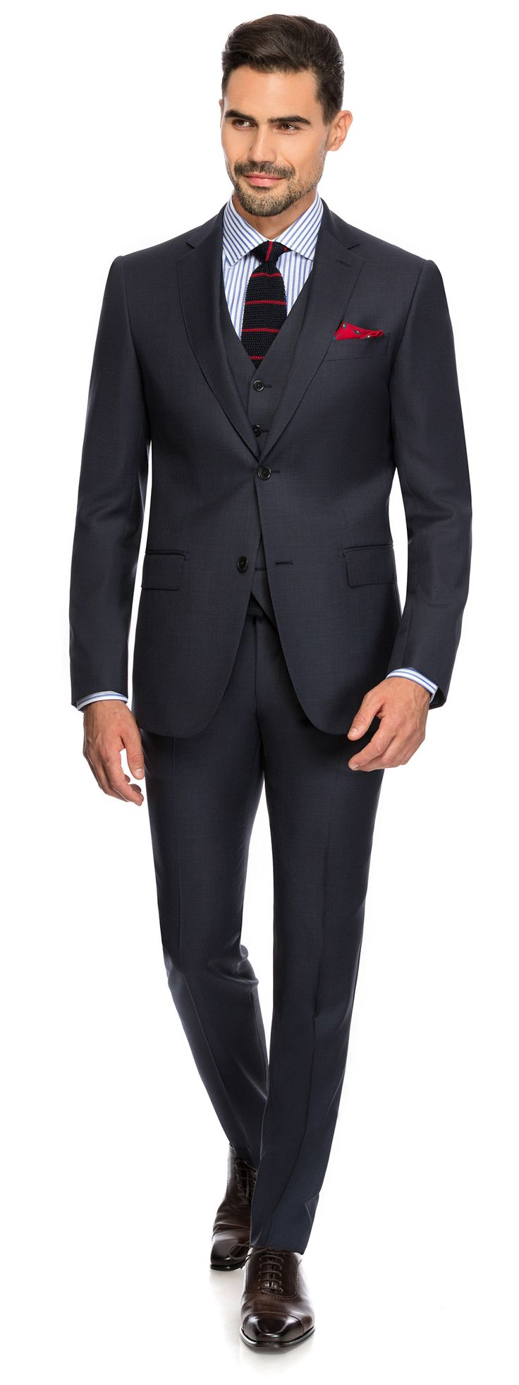 CHARCOAL PIN POINT SUIT