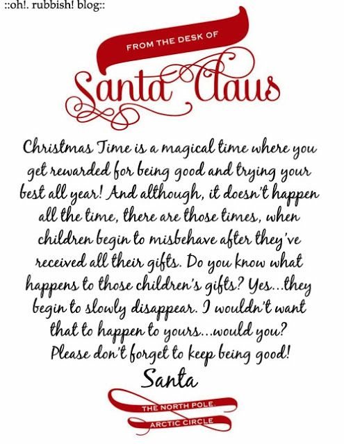 Letter from Santa After Christmas :: Santa Tracking Kids :: Letter from Santa to Misbehaving Kids ::