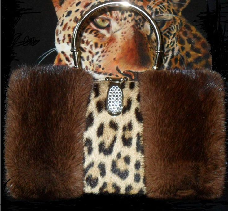bag fur leopard genuine and mink Enzo D'Amato designer