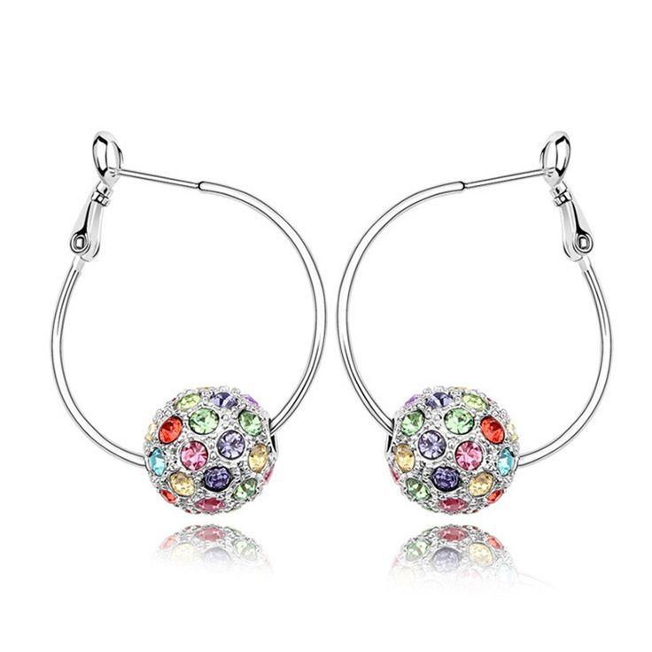 Austrian Crystal Hoop Earrings - Colorful Balls