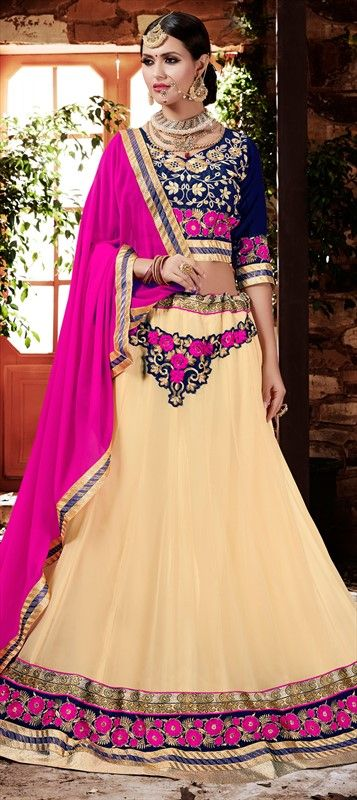 728960 Beige and Brown  color family Brides maid Lehenga, Mehendi & Sangeet Lehenga in Faux Georgette fabric with Border, Machine Embroidery, Resham, Thread work .