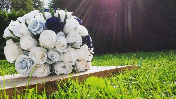 Blue Light Blue White Wedding Bouquet crepe paper by moniaflowers