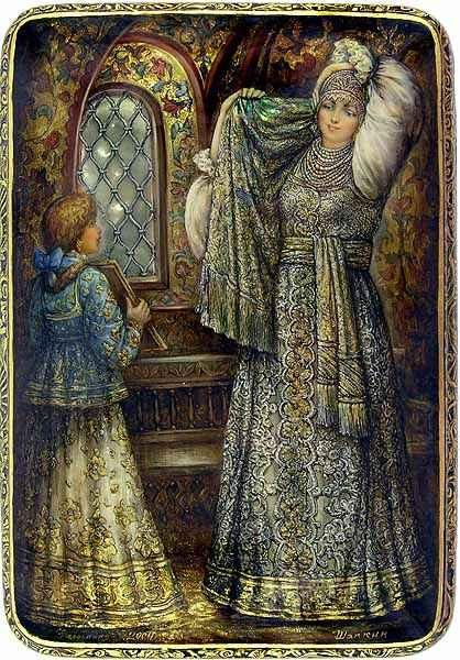Russian lacquer miniature from the village of Fedoskino. Russian noble beauty of the 17th c. at the mirror.