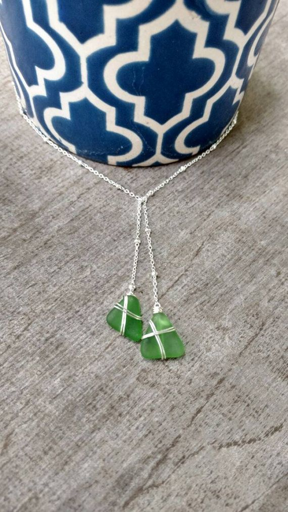 Lazo Y collar de hawaiana verde mar cristal por FlatteryDesigns
