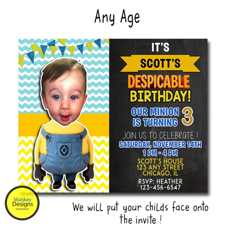 Best Birthday Invitations Images On Pinterest Birthday - Birthday invitation template minions
