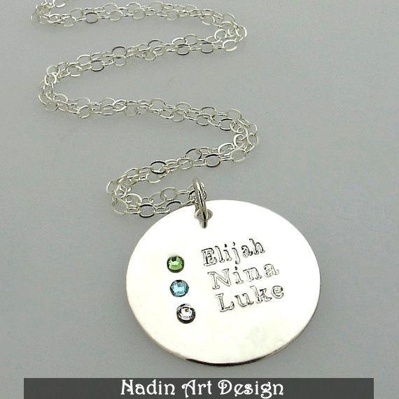 Mütter Halskette / Kinder Monatsstein-Anhänger von NadinArtDesign auf DaWanda.com