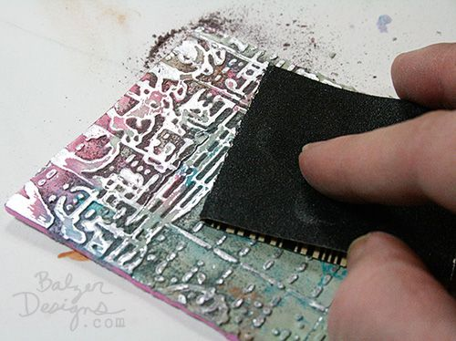 Metal Tape-foam-Distress paint-embossing folders tutorial from Julie Fei-Fan Balzer