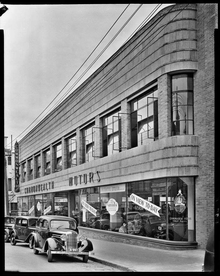 Commonwealth Motors, 111 A'Beckett Street, c. 1937. Photographer: Commercial Photographic Co. They were Vauxhall dealers, according to a sign in the window. Great cars, great building - is it still there? Harold Paynting Collection, State Library of Victoria Image H2009.21/44