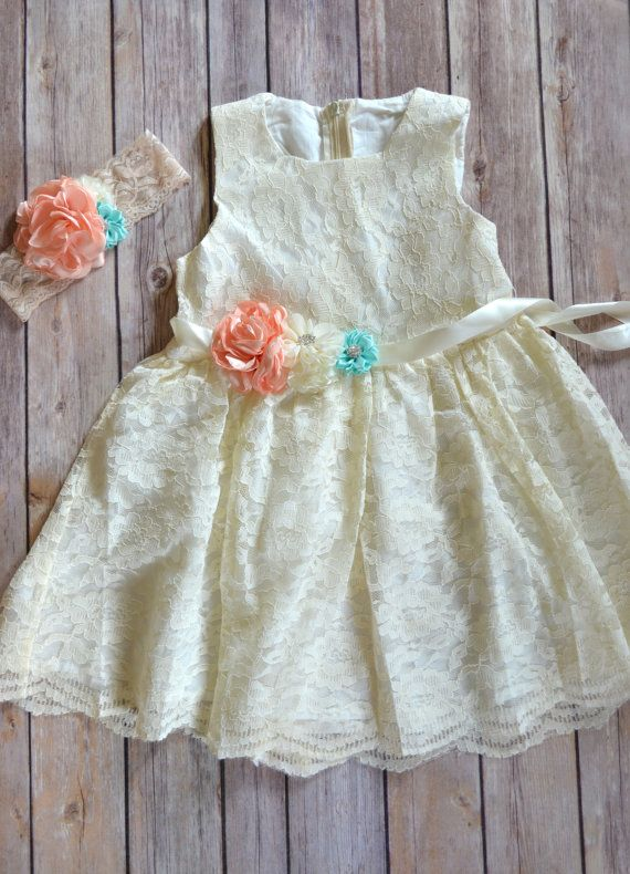 Coral Mint Ivory Lace Flower Girl Dress by MaidenLaneBoutique