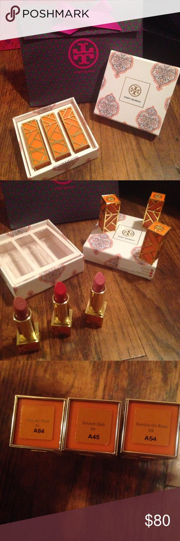 Tory Burch lipstick gift set Brand new and never used. I do not plan on breaking up set unless red one goes first. Great deal! Over $100 value! With cute little GIFTBOX and gift bag . Tory Burch Makeup Lipstick