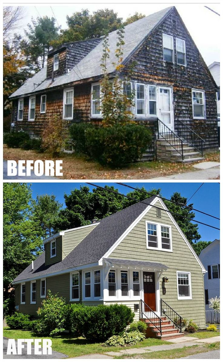 60 best images about before after on pinterest old cottage craftsman houses and master bath for Exterior bungalow renovations before and after