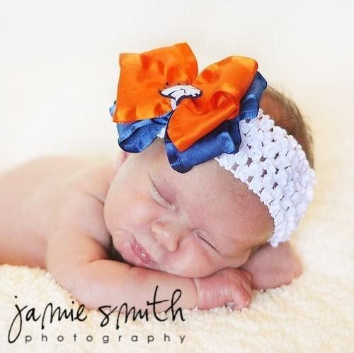 broncos infant hairbow | BOW HEADBAND with DENVER BRONCOS CENTER BABY by haleysheadbands