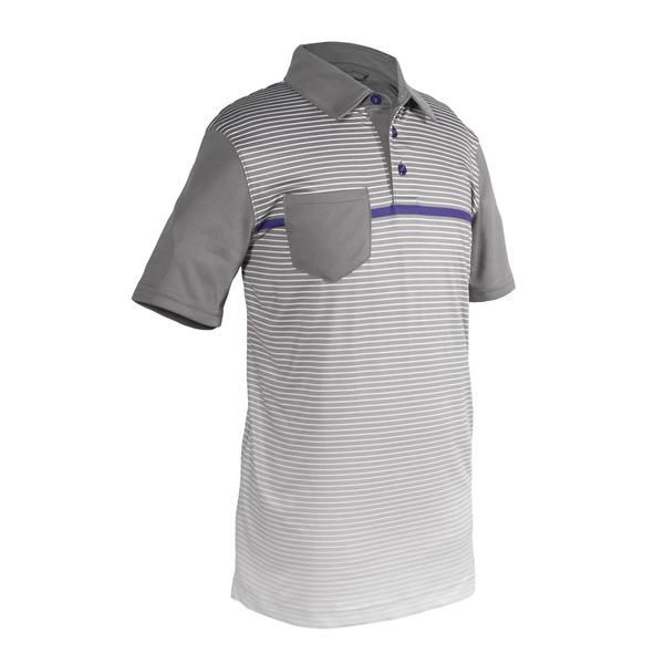 The Shane Boys Golf Polo is so cool with the ambre stripe pattern and the distinct navy chest stripe. This youth collard golf shirt matches perfectly with the navy colored Zack shorts. Moisture wicking technology will be sure to keep your boy dry on the course all day.