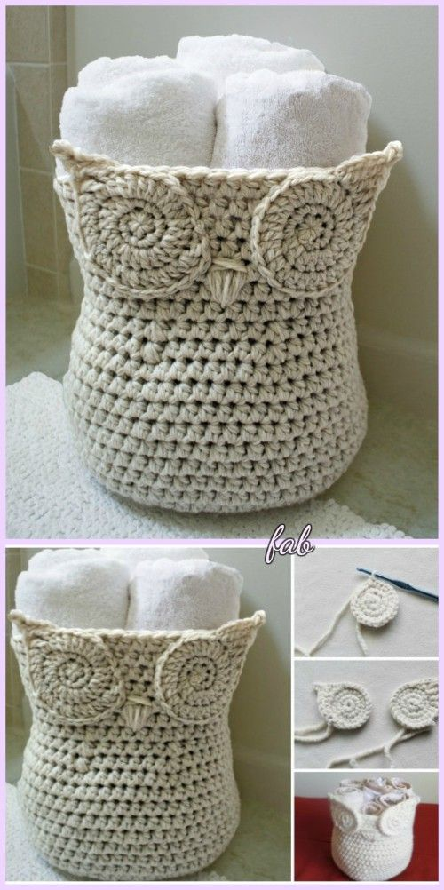 Crochet Owl Basket Pattern with Free Eyes Tutorial