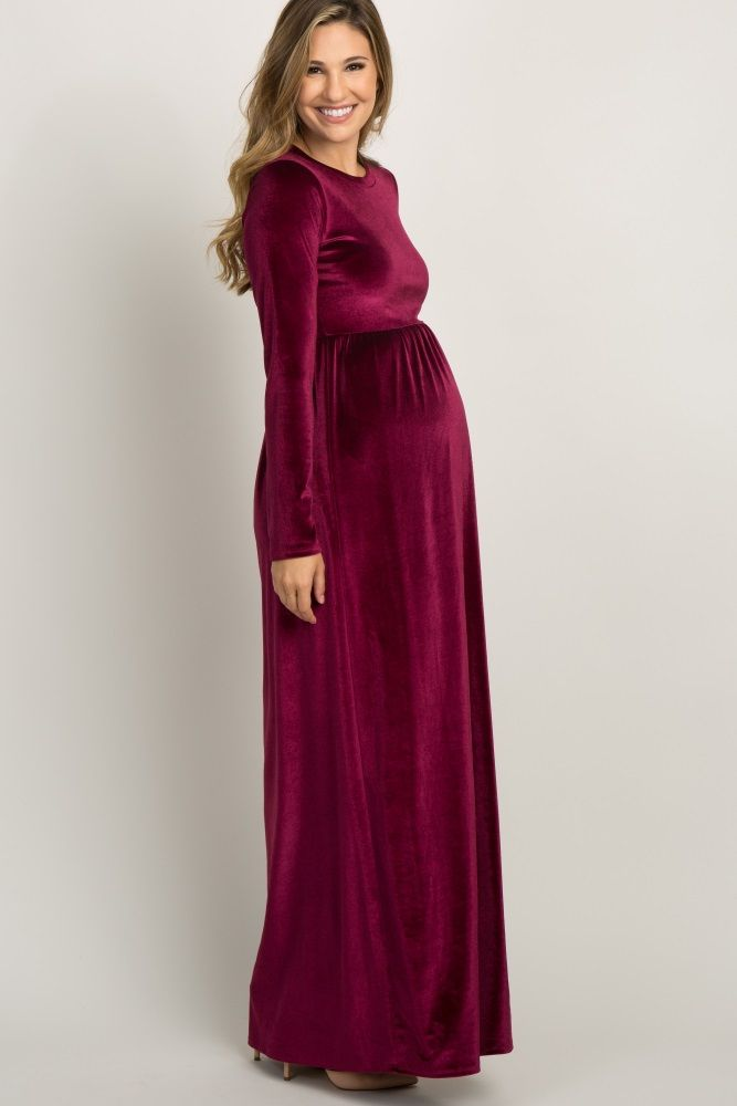 04fe8255e0c Burgundy Basic Velvet Maternity Maxi Dress in 2019