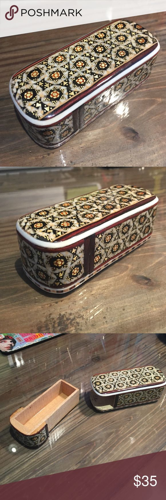 Bobby Pin/Jewelry Holder for Purse! Bobby Pin/Jewelry Holder for Purse! Beautiful middle eastern design, given to me by a friend who recently visited Iran. I have two already! Very gorgeous wood patterns, a work of art. Used by ladies to store jewelry, tissues, make up, Bobby pins, and even q tips in your handbag to go! Looks like something you'd find at anthropologie or Urban outfitters. Not from urban outfitters though! Perfect for traveling! ⛵️ Urban Outfitters Accessories