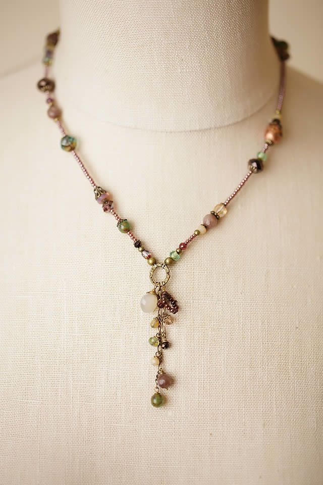 "Anne Vaughan Designs - Mauve Mix 17-19"" Dangle Tassle Necklace, $66.00 (https://www.annevaughandesigns.com/mauve-mix-handmade-dangle-tassle-gemstone-necklace/)"